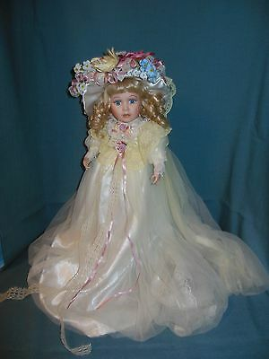Porcelain Doll In Cream Colored Victorian Dress & Hat(Limited Edition)