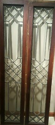 2 Antique Architectural Beveled Lead Glass Windows