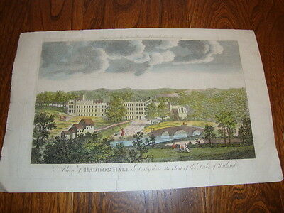 Antique Hand Coloured Engraving/Print HADDON HALL Derbyshire Duke Of Rutland