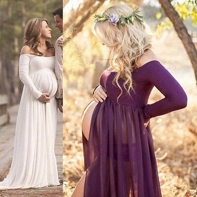 Pregnant Off Shoulder Long Sleeve Evening Dress Maternity Gown Photography Props
