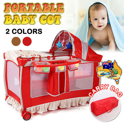 2017 New 7 In 1 Portable Baby Travel Cot Bassinet Bed Playpen Crib Portacot Toy