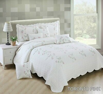 Bedspread PINK Embroidered Comforter Bed spread 3 Pcs Piece Bedding Set Quilted