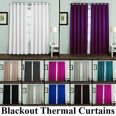 Ring Top Thermal Blackout Pair Eyelet Ready Made Curtains Black Cream Silver New