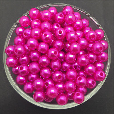 Wholesale 100PCS 6mm Rose Acrylic Round Pearl Spacer Loose Beads Jewelry Making