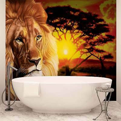 WALL MURAL PHOTO WALLPAPER XXL Lion Sunset Africa Nature Tree	 (433WS)