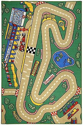 """RUBBER BACK 3'3"""" x 5' GREEN Kids Educational Cars City Race Track AREA RUG 3'x5'"""