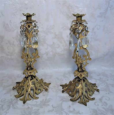 """Pair of Antique Ornate Frech Style Rococo Brass Candle Sticks Glass Prisms 14.5"""""""