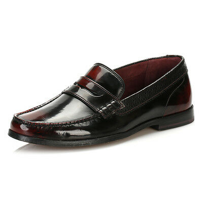 Ted Baker Mens Formal Shoes Dark Red Leather Rommeo Loafers Slip On Smarts