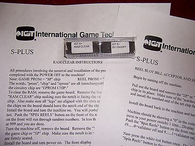 IGT S+ S-Plus Slot machine RAM & BV Bill Validator clear set chips &instructions