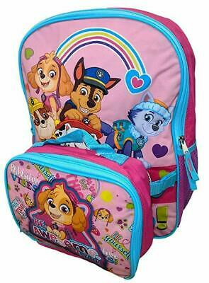 "Paw Patrol Girls 16"" Pink School Backpack Lunch Box Book Bag Combo SET Kids"