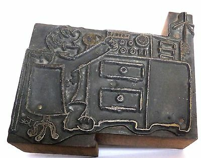 Vintage Letter Press Printing Block- Man twisting the dials on CB radio graphic