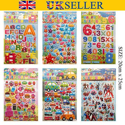 A4 3D Kids Favour Embellishment Self Adhesive Craft STICKERS Alphabet Letters