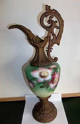 Antique Decorative Metal & Hand Painted Floral Urn