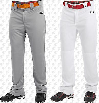 Rawlings Launch Hemmed Relaxed Fit Open Bottom Youth Baseball Pants White, Gray