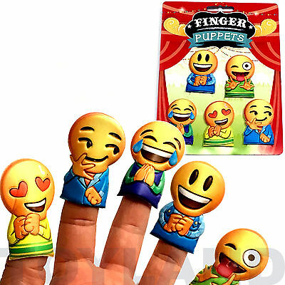 5 x EMOJI SMILEY FACE FINGER PUPPETS BOY GIRL TOY LOOT BIRTHDAY PARTY BAG FILLER