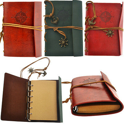 Retro Vintage PU Cover Blank Notebook Travel Journal Diary Memo Jotter Xmas Gift