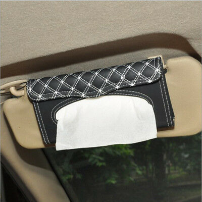 Car Auto Faux Leather Sun Visor Tissue Box  Holder Paper Case Pouch Black-White