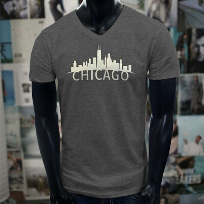 ecb85d022064d3 CHICAGO SKYLINE ILLINOIS PRIDE SEARS TOWER PROUD Mens Charcoal V-Neck  T-Shirt