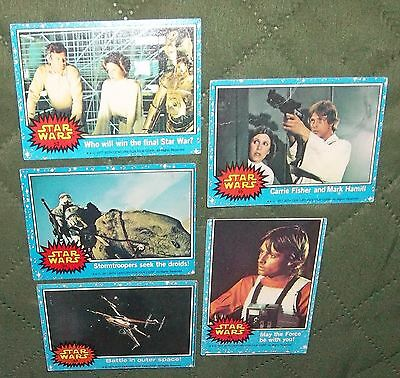 Original Vintage 1977 Lot of 5 STAR WARS Trading Cards 24, 52, 53, 63, 65 and..