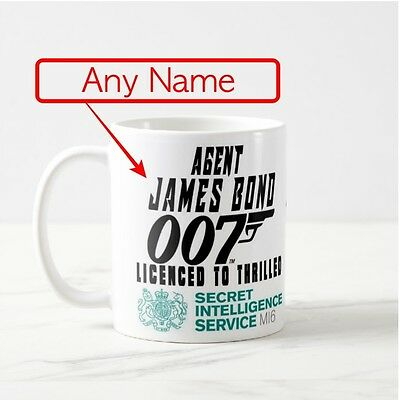 Funny Personalised James Bond 007 Coffee Tea Cup Birthday Gift Xmas