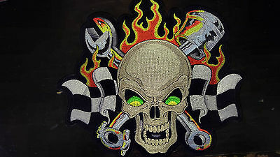 """Flaming Skull Biker Motorcycle back patch 12"""" x 10"""""""