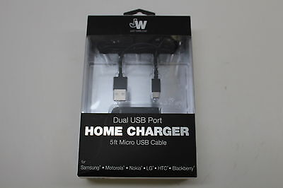 Just Wireless Dual Wall Home Charger and 5ft Micro USB Cable Universal Black