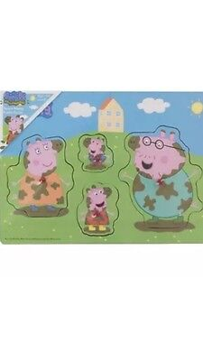 Peppa Pig Wooden Muddy Puddle Peg Puzzle Jigsaw New