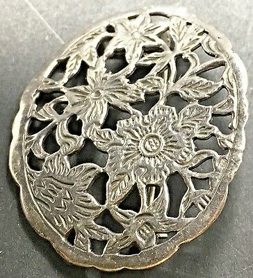 Vintage Sterling Silver Oval Brooch Floral Motif  Open Work Ornate