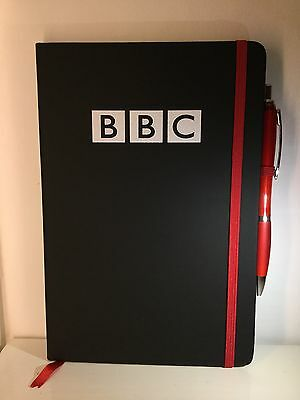 Brand New Bbc A5 100 Page Black Hardback Ruled Notebook With Red Pen & Elastic