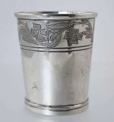 ANTIQUE SPANISH COLONIAL SILVER BEAKER CUP w/ENGRAVED FLORAL PATTERN EDGE