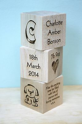 Personalised Newborn Baby Boy Girl Gift Present Christening Keepsake Wood Blocks