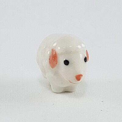 adorable tiny white sheep ceramic dollhouse miniature figurine collectibles