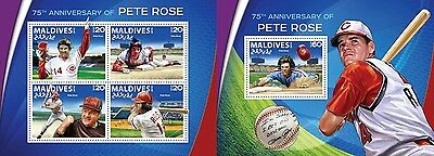 Z08 MLD16506ab MALDIVES 2016 Pete Rose MNH Set
