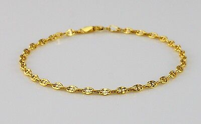 9ct Yellow Gold Marine Style / Gucci Style Bracelet 18cm / 7 inch