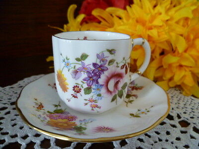 Pretty Royal Crown Derby England Derby Posies Coffee Can & Saucer