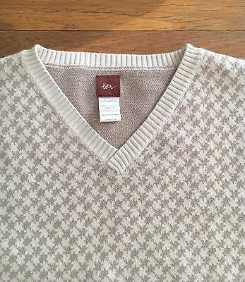 Boy's Tea collection 8-10 Sweater Vest SHARP Herringbone Beige Cream Cotton