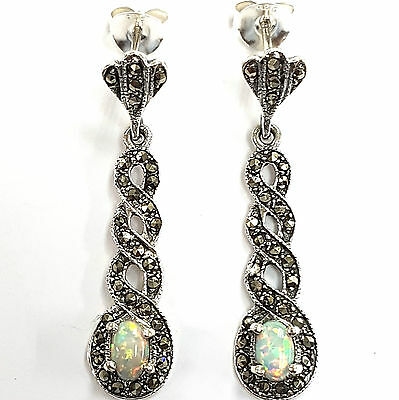 Victorian Style White Opal And Marcasite Earrings 925 Sterling Silver