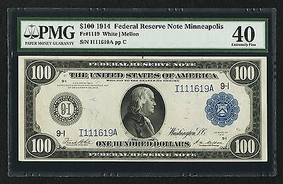 Fr. 1119 1914 $100 FRN FEDERAL RESERVE NOTE PMG EXTREMELY FINE-40