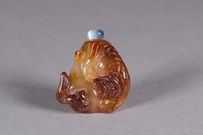 Chinese Agate Carved Tiger Snuff Bottle