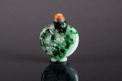 Chinese Green Jadeite Snuff Bottle with Coral Stopper