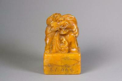 Chinese Soapstone Carved Large Dragon Seal