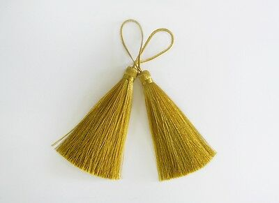 Gold Long Tassel Silk Fringe Trim Jewelry Making Supply Dangle Decoration Sewing