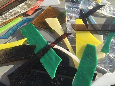 2.5# Color Variety Fusible Stained Glass Small-Med Sizes non square for mosaic