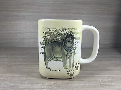 J Worms  Wolf Themed Coffee Mug Square Unique Gift Conservation Stamp