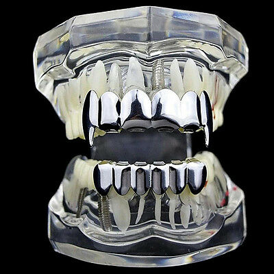 Custom Silver/Gold Plated Hip Hop Teeth Grillz Caps Top & Bottom Grill Fangs Set