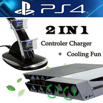 PS4 USB Controller LED Charger Dock Station + External Turbo Cooler Cooling Fan