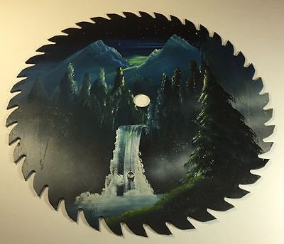 VINTAGE HAND PAINTED SAWBLADE Night Time Mountains Waterfall Stars SAW BLADE