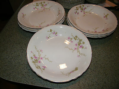 Pope Gosser 3 eight inch salad/soup bowls Delicate Wild Rose Pattern/ all good