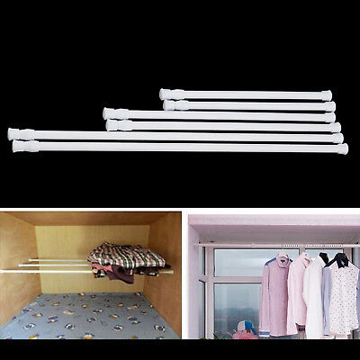 Spring Loaded Net Rod Voile Curtain Rail Extendable Telescopic Pole Bath Shower