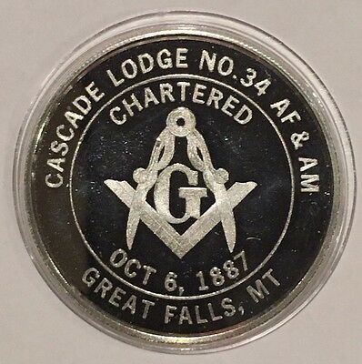 1987 Cascade Lodge Great Falls Montana 1 Troy Oz .999 Fine Silver Proof Coin 999